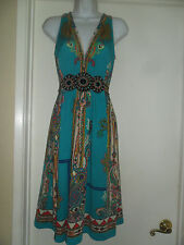 """""""ECI NEW YORK"""" COLORFUL DESIGN DRESS WITH BEADED WAIST SIZE 4"""