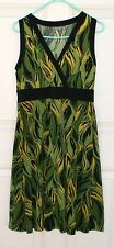 APT. 9 STRETCH DRESS Lovely Green & Yellow w Black Trim Stretchy! Exc. Sz M-L