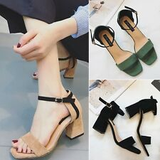 Sweet Ankle Strap Buckle Sandal Simple Suede Block High Heel Fashion Women Shoes
