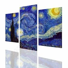 CANVAS (Rolled) Starry Night Vincent Van Gogh 3 Panels Oil Paintings Prints Art