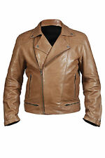 Hampton New Mens Casual Quilted Retro Rock Biker Jacket 100% Tan Nappa Leather
