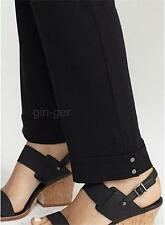 """NWT EILEEN FISHER Viscose Jersey Snap Cuff Slim Ankle Pant BLACK  S-M 32"""" waist"""