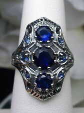 *Blue/Sapphire*Gems 1930s Art Deco Sterling Silver Filigree Ring {Made To Order}