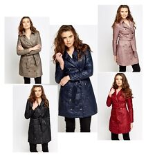 Ladies Quilted Belted Trench Mac Long Coat Lightweight Spring Jacket 8 , 10