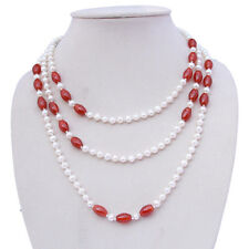 100% natural fresh water pearl agate AA4-5mm +8x9mm white+red necklace 50inch