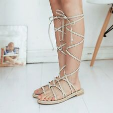Womens Synthetic Leather Lace Up Flats Slingbacks Solid Sandals Shoes New!!!