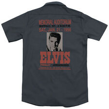 Elvis Buffalo 1956 (Back Print) Mens Work Shirt CHARCOAL