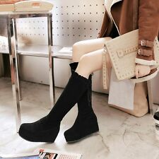 Womens Suede Round Toe Lace Up Knee High Wedge Waterproof Platform Casual Boots