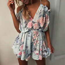 Womens Holiday Print Mini Playsuit Ladies Jumpsuit Summer Shorts Beach Dresses
