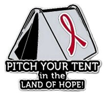 Red Awareness Ribbon Pin Pitch Your Tent in the Land Hope Camping Camper Inspire