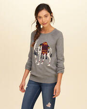 NWT Hollister by Abercrombie Crew Pullover Sweater Animal Camel Intarsia S Grey