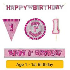 AGE 1 - Happy 1st Birthday PINK GLITZ - Party Balloons, Banners & Candles