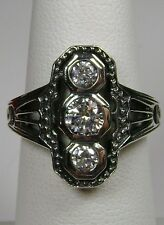White Gems Solid Sterling Silver Victorian Filigree Ring Size: (Made to Order)