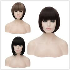 Women's short Synthetic fluffy Cos wig straight hair neat bang lady cosplay Wigs