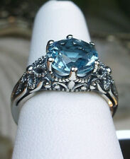 3ct*Aquamarine* Solid Sterling Silver Victorian Crown Filigree Ring Size Any/MTO