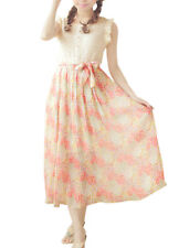 Ladies Sleeveless Floral Prints Self Tie Lace Pleated Chiffon Dress