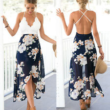 Ladies Deep V Cross Spaghetti Strap Floral Dress Sleeveless Sundress Beach Dress