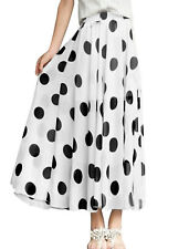 Women Stretchy Waist Design Dots Pattern Chiffon Skirt