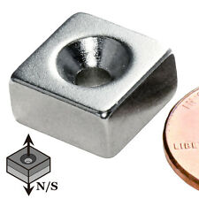 """CMS Magnetics® N42 Neodymium Magnet 1/2""""x 1/2""""x 1/4"""" with #6 Countersunk Hole"""