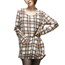 Women Scoop Neck Long Sleeve Pullover Loose Fit Printed Tunic Knit Blouses