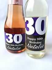 10x PERSONALISED 30th BIRTHDAY MINI WINE & CHAMPAGNE BOTTLE LABELS