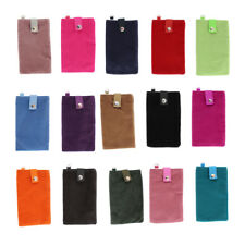 Velvet Magnetic Clasp Button Cell Phone Pouch Sleeve Bag 16x9.5cm
