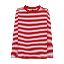 Women Crew Neck Long Sleeves Striped Loose Tee Shirt