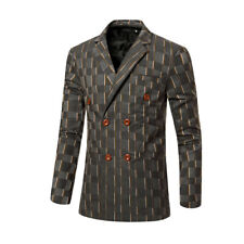 Men Striped Checked Long Sleeves Double Breasted Slim Fit Blazer