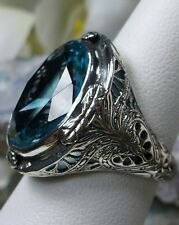 16ct *Aquamarine* Sterling Silver Victorian Filigree Ring Size: (Made To Order}