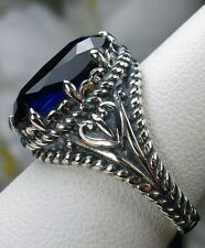 6ct Oval Cut *Sapphire* Sterling Silver Gothic Claw Filigree Ring Size Any/MTO