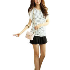 Women Round Neck Dots Pattern Stretchy Blouse Top