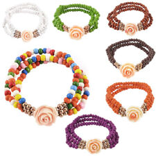 Lady Flower Pendant Round Beads Decor 3 Layers Stretchy Wrist Bracelet Bangle
