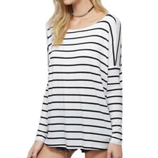 Women Round Neck Long Dolman Sleeves Stripes Casual Tunic T-Shirt