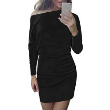 Woman Raglan Long Sleeves Scoop Neck Mini Sheath Dress