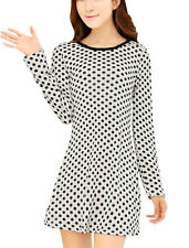 Lady Dots Long Sleeve Slim Fit Round Neck Tunic Straight Dress