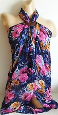 BLUE PINK FLORAL LARGE BEACH SARONG PAREO WRAP WITH FREE COCONUT SHELL BUCKLE