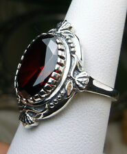 5ct Oval *Garnet* Sterling Silver Victorian Filigree Ring Size {Made To Order}