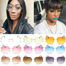 Sunglasses Women Oversized Round Rimless Fashion Optics Metal Frame Eyewear CHI