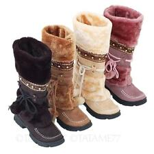 VANCY Womens Fashion Winter Flat Vintage Ladies Shoes Furry Mid Calf Boots Size