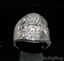 STERLING SILVER ZODIAC RING HOROSCOPE STAR SIGN CANCER HIGH POLISHED ANY SIZE