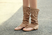 Summer women hollow out knee high heel Gladiator Shoes pull on flat sandal boots