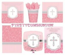 COMMUNION PINK/Girl BLESSING Tableware & Decorations {Amscan}(Banner/Balloon)