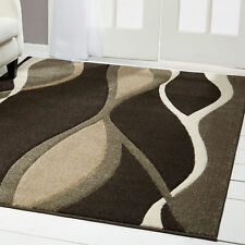 Contemporary Dark Brown Modern Area Rug Hand Carved Lines Swirls Abstract Carpet