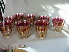 VINTAGE SIGNED CULVER LOW BALL/OLD FASHIONED TUMBLERS RED CRANBERRY W/GOLD-8