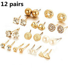 12Pairs Women Girl Pearl Crystal Heart Stud Triangle Earring Set Jewelry CHI