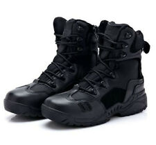 Men's Army Tactical Leather Combat Military Ankle Boots Army Shoes Black Sand