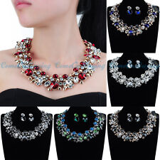 Fashion Jewelry Bling-Bling Crystal Statement Pendant Bib Necklace Earring Sets