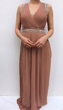 TFNC WEDDING Taupe Pleated Sequin Maxi Evening Party Bridesmaid Dress 10 38 US 6