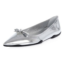 PRADA New Woman Silver Patent Leather shoes Ballet Flat NWT Original