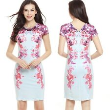 Women Floral Bodycon Dress Short Sleeve Tunic Stretch Party Cocktail Mini Dress